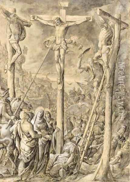 The Crucifixion Oil Painting - Hans Bol