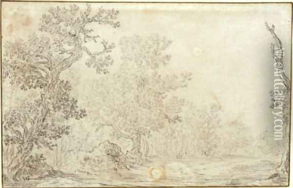 View Of A Clearing In A Wood Oil Painting - Jan van Goyen