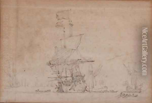 A Man-O-War With Other Ships And Rowing Boats, On A Calm Sea Oil Painting - Willem van de, the Elder Velde