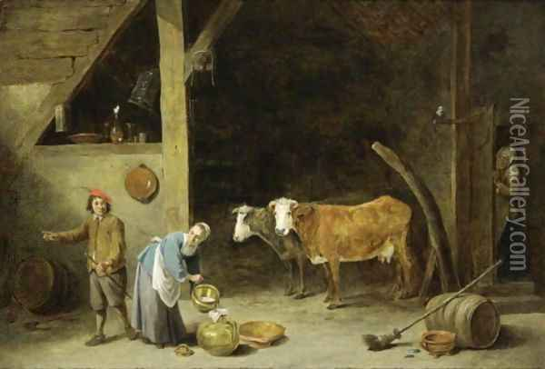 A Barn Interior With A Peasant Woman Pouring Milk Into A Jug And A Peasant Man Standing Nearby, With Cattle In The Background, An Old Woman Peeking Through A Door And An Owl Sitting On A Stick Near The Door Oil Painting - David The Younger Teniers
