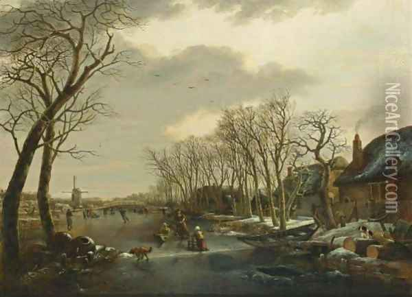 A Winter Landscape With A Woman Skating Behind A Sledge, A Girl Skating With A Chair, And Other Figures Skating And A Dog On A Frozen Canal Near A Village With A Mill Beyond Oil Painting - Arnoldus Van Well