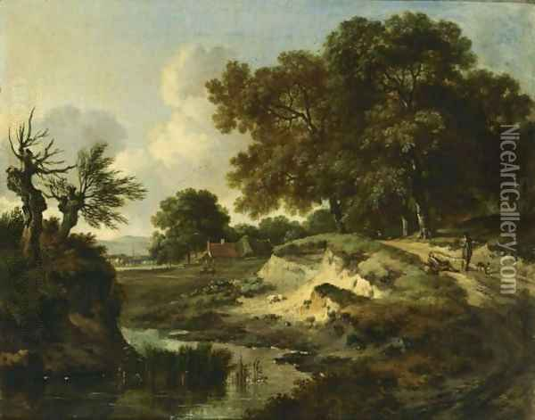A Wooded Landscape With Travellers And A Dog On A Path Near A Stream, A Farm Beyond Oil Painting - Jan Wijnants