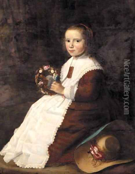 Portrait Of A Young Girl, Full Length, Seated In A Landscape, Wearing A Brown Dress And Holding A Garland Of Flowers Oil Painting - Hendrick Van Vliet