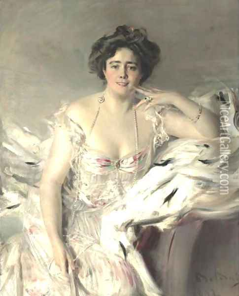 Portrait Of Lady Nanne Schrader, Nee Wiborg Oil Painting - Giovanni Boldini