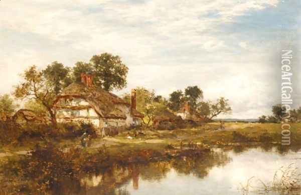 Figures Outside A Cottage By A Stream Oil Painting - Benjamin Williams Leader