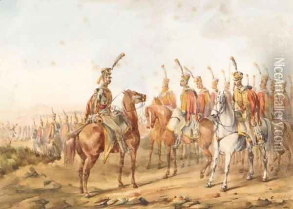 Napoleon's Cavalry On Various Campaigns Oil Painting - Orlando Norie