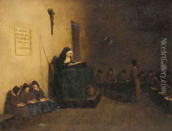 The Convent Schoolroom Oil Painting - Francois Bonvin
