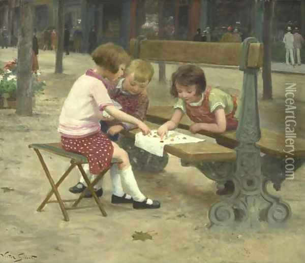 A Game In The Park Oil Painting - Victor-Gabriel Gilbert