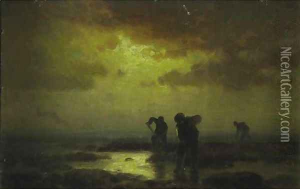 Clam Diggers Oil Painting - Edward Moran