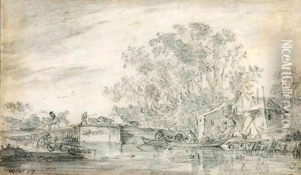 River Landscape With Fishermen In Their Boats To The Right, And A Herdsman With His Flocks On A Low Bridge Oil Painting - Jan van Goyen