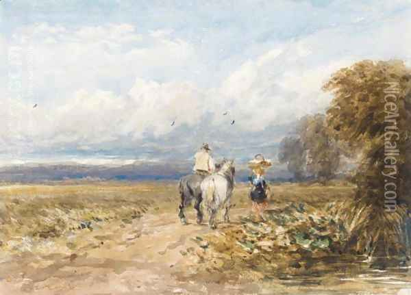 The Road By The Moor Oil Painting - David Cox