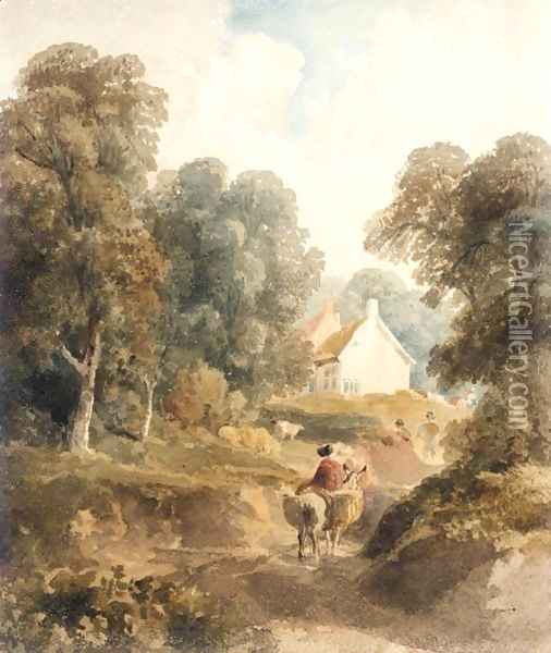 A Woman On A Donkey Returning From Market Oil Painting - Peter de Wint