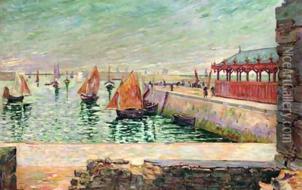 Port-En-Bessin. La Halle Aux Poissons Oil Painting - Paul Signac