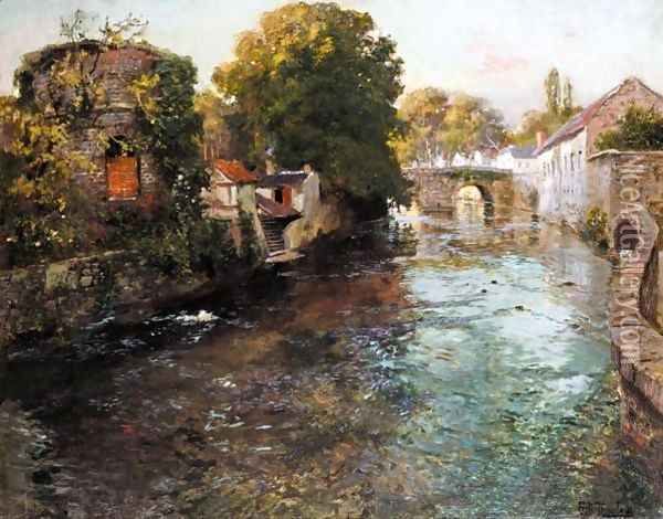 Fra Elven Elle I Quimperle (By The River Elle In The Town Of Quimperle) Oil Painting - Fritz Thaulow