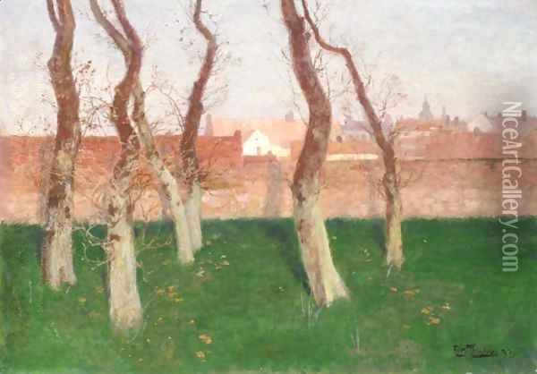 Utsikt Over Bymuren I Montreuil-Sur-Mer (View Over The Town Wall Of Montreuil-Sur-Mer) Oil Painting - Fritz Thaulow