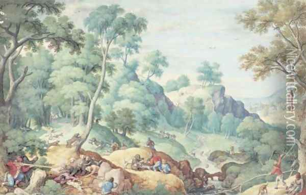 Extensive Landscape With A Bear Hunt Oil Painting - Hans Bol
