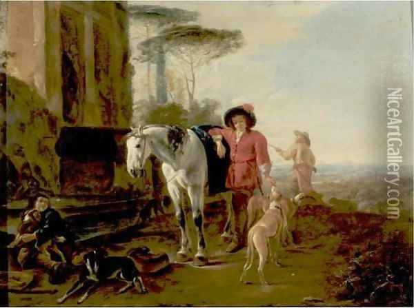 Hunters Resting In A Landscape With A Grey Horse And Hounds Oil Painting - Dirck Willemsz. Stoop
