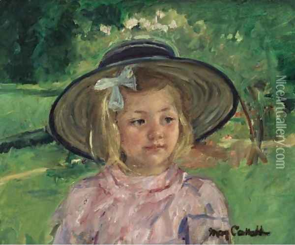 Little Girl In A Stiff, Round Hat, Looking To Right In A Sunny Garden Oil Painting - Mary Cassatt