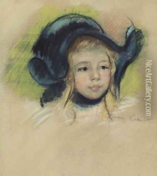 Head Of Simone In A Green Bonnet With Wavy Brim Oil Painting - Mary Cassatt