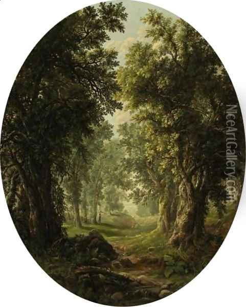 Hunting In The Newark Woods Oil Painting - William Mason Brown