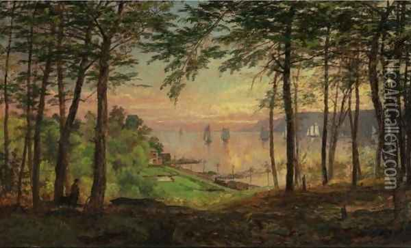 Hudson River From Dudley's Grove Oil Painting - Jasper Francis Cropsey