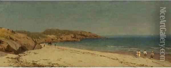 Along The Beach, Cape Ann, Massachusetts Oil Painting - Sanford Robinson Gifford