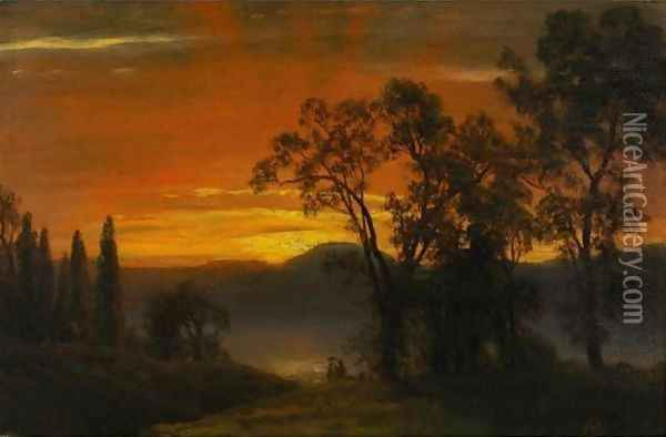 Sunset Over The River 2 Oil Painting - Albert Bierstadt