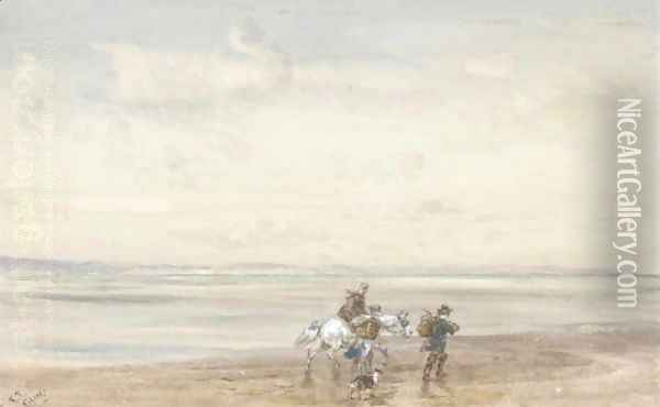 Crossing The Sands 2 Oil Painting - David Cox