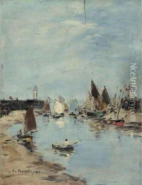 Trouville. Les Jetees. Maree Basse 2 Oil Painting - Eugene Boudin