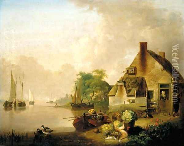 A River Landscape With Moored Sailing Boats And A Village Behind, A Still Life Of Cabbages, Carrots, Hares And A Black Hen In The Foreground Oil Painting - Jan van Os