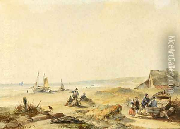 Fisher Folk In The Dunes Oil Painting - Andreas Schelfhout