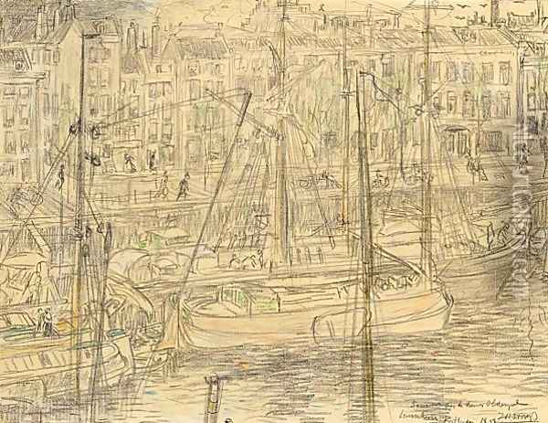 A View Of The Leuvehaven, Rotterdam Oil Painting - Jan Toorop