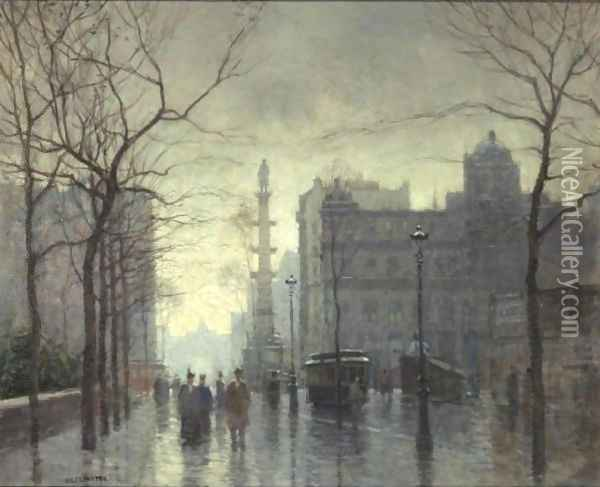 Rainy Day, Columbus Circle Oil Painting - Paul Cornoyer