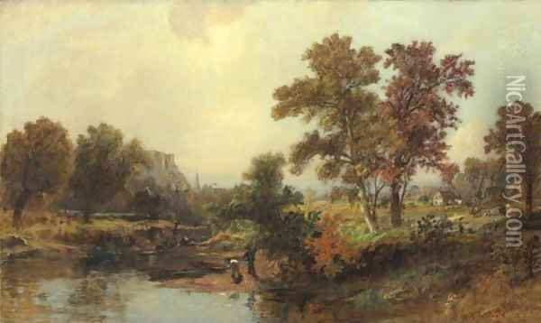 An October Day Oil Painting - Jasper Francis Cropsey