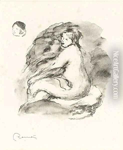 Study Of A Seated Nude Oil Painting - Pierre Auguste Renoir