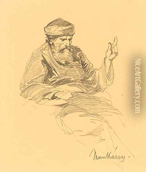 Study Of An Arab Man Oil Painting - Mihaly Munkacsy