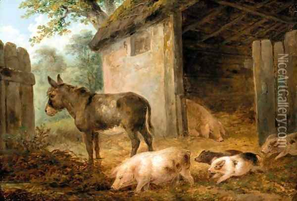 Pigs And A Donkey In A Farmyard Oil Painting - James Ward