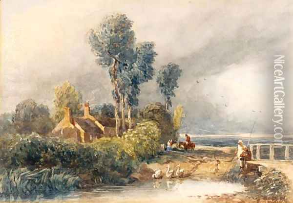 Children Fishing By A Bridge, Cottages Beyond Oil Painting - David Cox