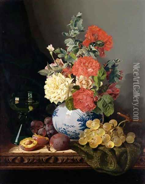 Still Life With A Vase Of Roses, Grapes, Plums And A Wine Glass On A Carved Table Oil Painting - Edward Ladell