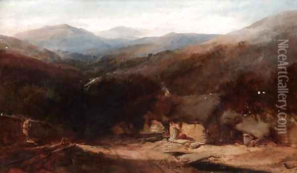 A Welsh Mountain View With Figures By A Croft Oil Painting - Henry Bright