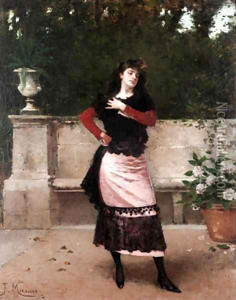 Manola (Spanish Lady) Oil Painting - Francisco Miralles Galup