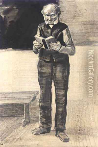 Man Standing, Reading A Book Oil Painting - Vincent Van Gogh