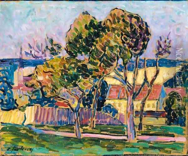 Landschaft (Wasserburg Am Inn) (Landscape - Wasserburg Am Inn) Oil Painting - Alexei Jawlensky