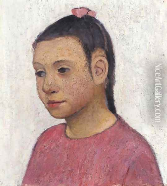 Brustbild Eines Italienischen Madchens In Rotem Kleid (Portrait Of An Italian Girl In A Red Dress) Oil Painting - Paula Modersohn-Becker