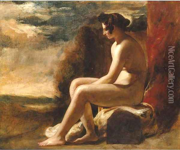 Seated Female Nude In A Landscape Oil Painting - William Etty