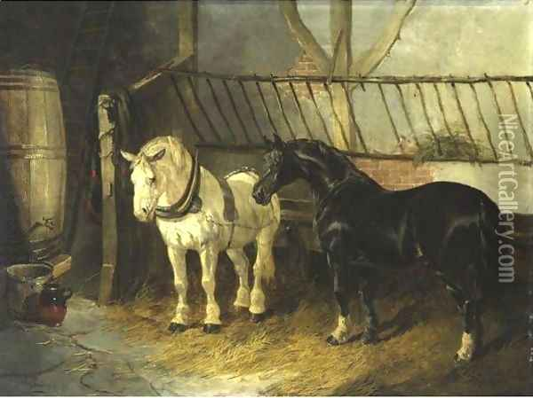 Horses In The Stable Oil Painting - John Frederick Herring Snr
