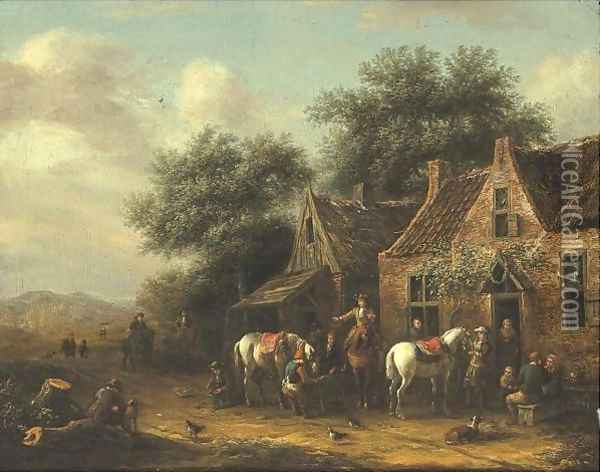 Horsemen Beside A Cottage Oil Painting - Barend Gael or Gaal