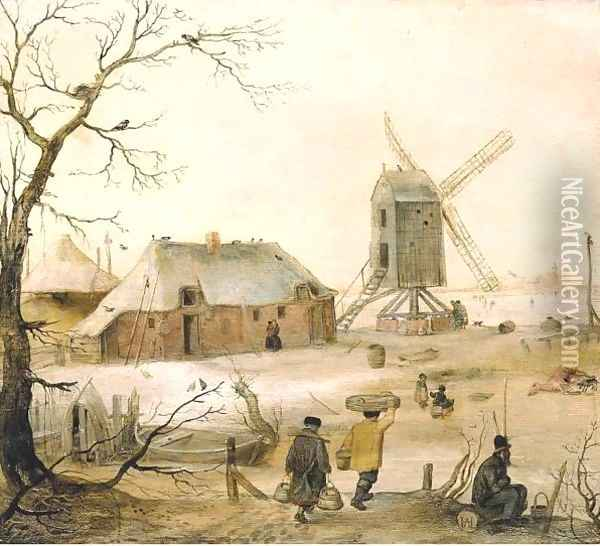 A Winter Landscape With Villagers On A Path By A Frozen River, A Windmill Beyond Oil Painting - Hendrick Avercamp