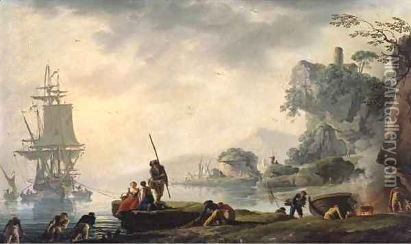 The Return Of The Fishermen In A Coastal Landscape With Ruins In The Foreground Oil Painting - Claude-joseph Vernet