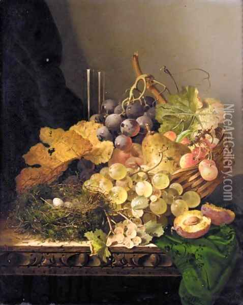 Still Life With A Bird's Nest, Pear, Grapes, Cherries And A Plum And A Glass Vase On A Ledge Oil Painting - Edward Ladell